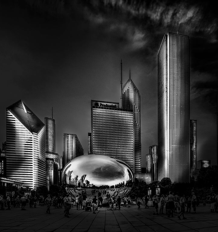 Chicago,-Cloud-Gate-and-surrounding-buildings_BW
