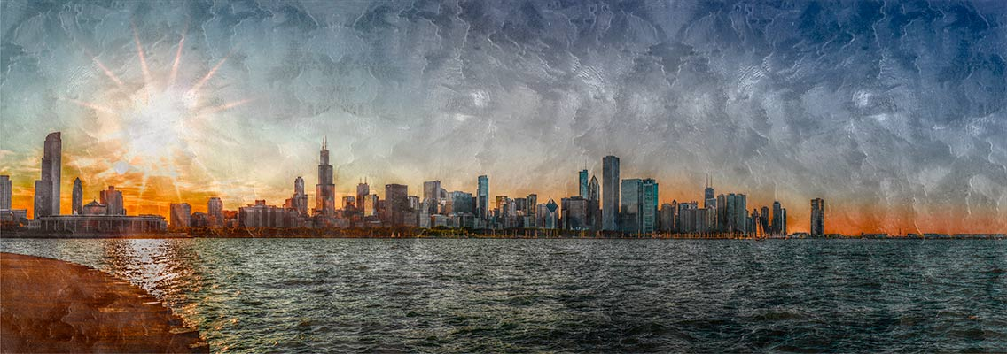 Chicago,-View-of-the-skyline at sunset