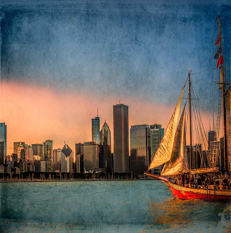 Chicago.-Sailing in the lake Michigan