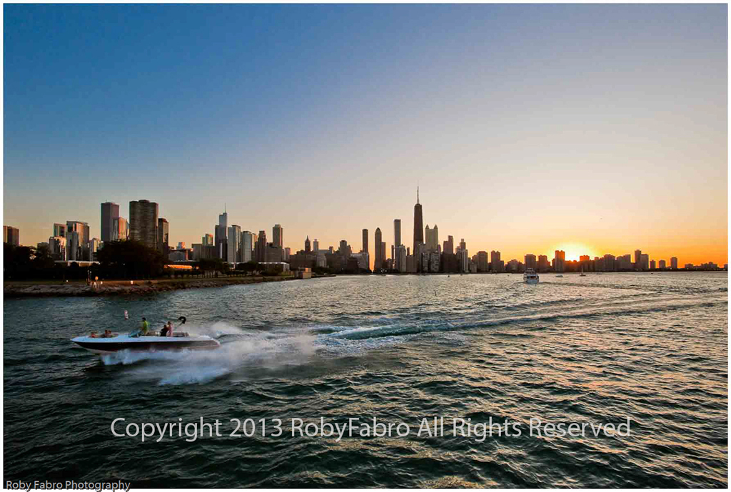 Chicago Speedboat at Sunset at Lake Michigan