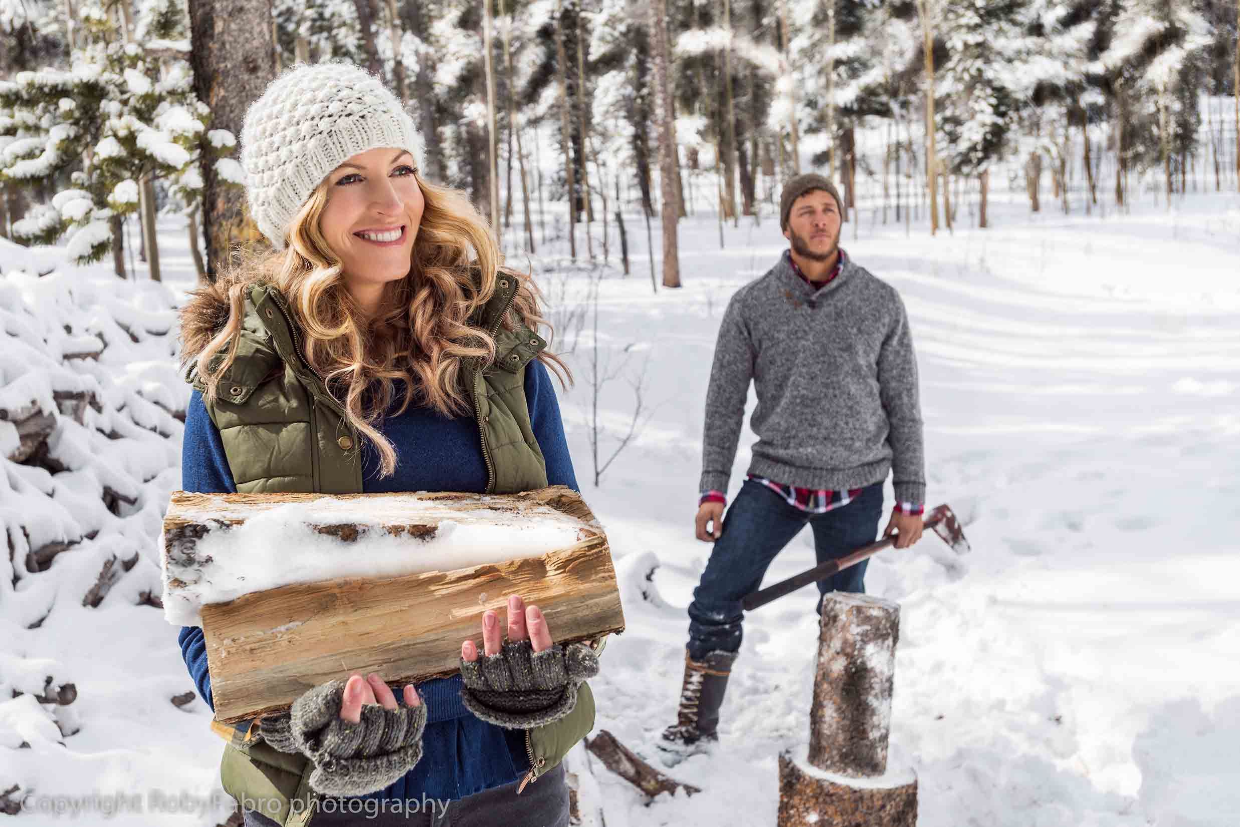 Lifestyle photography, chopping wood. Breckenridge, Colorado