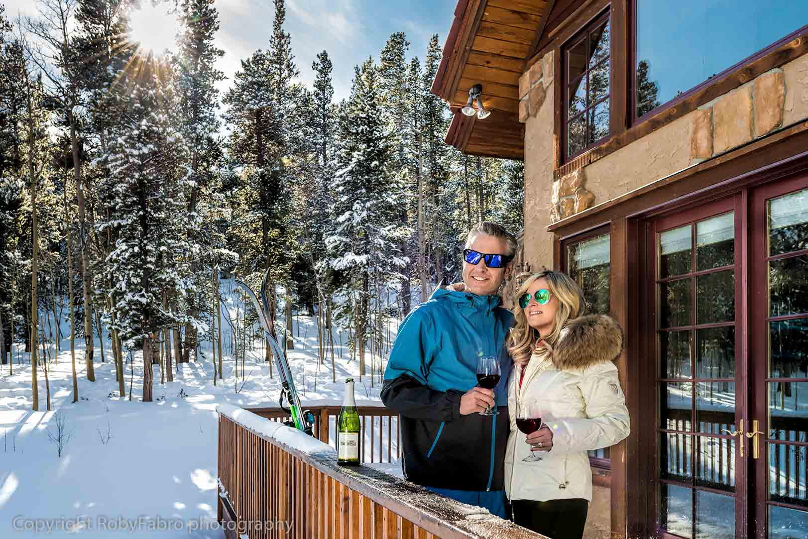 Relaxing with a glass of wine. Breckenridge, Colorado. Lifestyle photography
