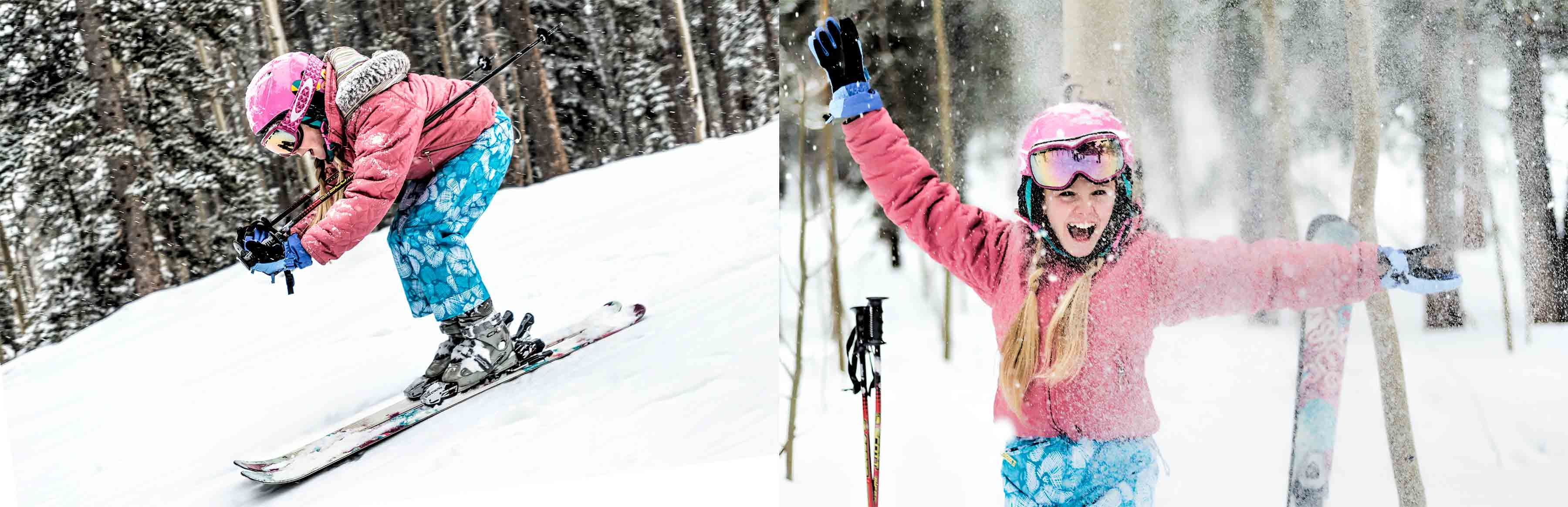 Young girl skiing. Fashion lifestyle