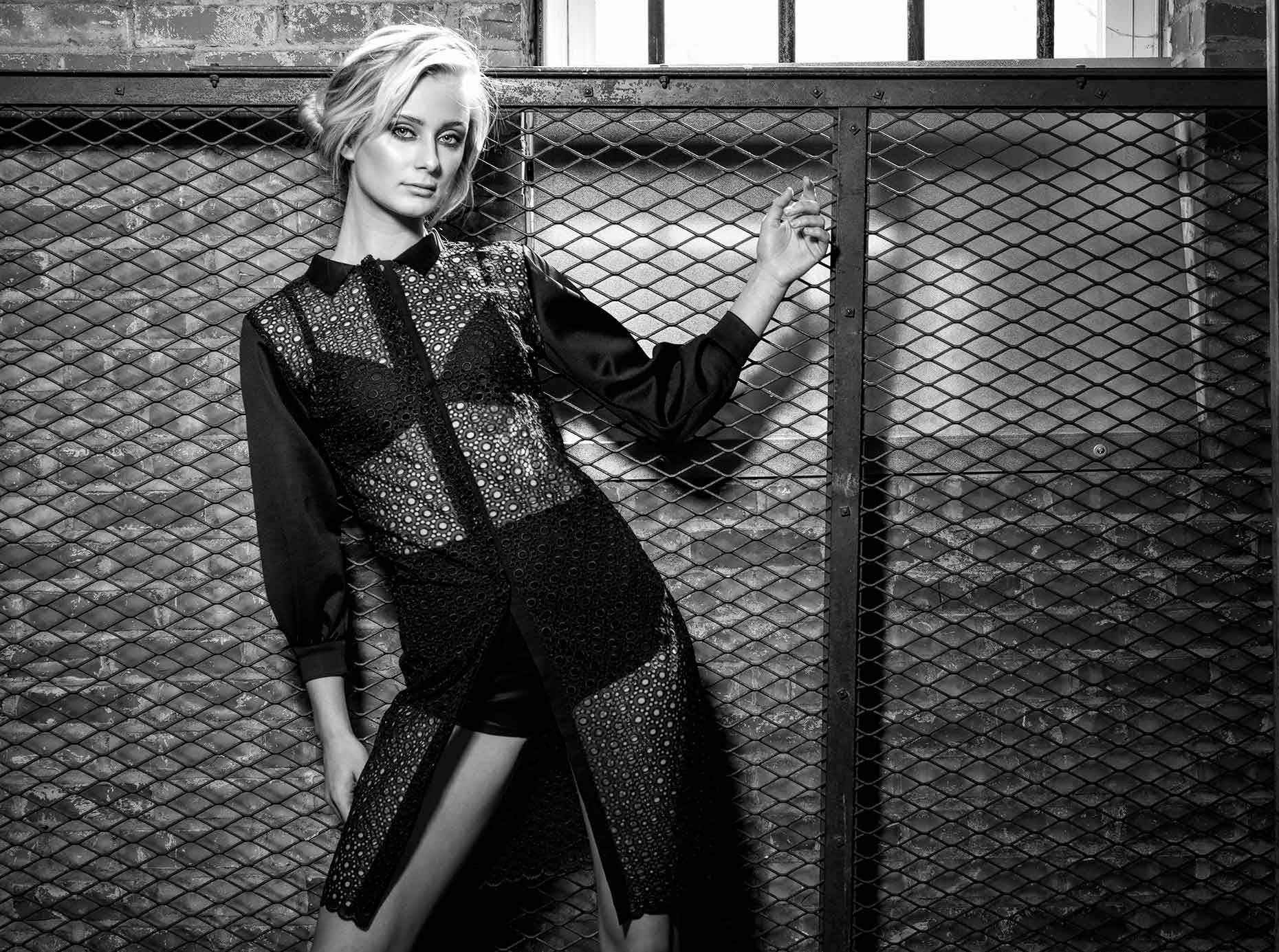 Fashion shot of Marina in BW