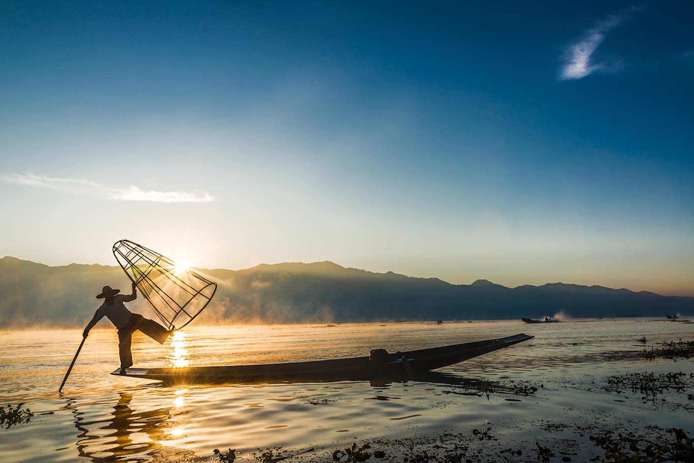 Myanmar, Inle Lake, Fishing at Sunrise