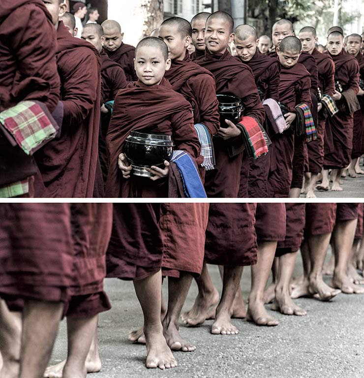 Myanmar, Marapura, Mahar Gandar Yone Monastery, Procession of Monks to Lunch